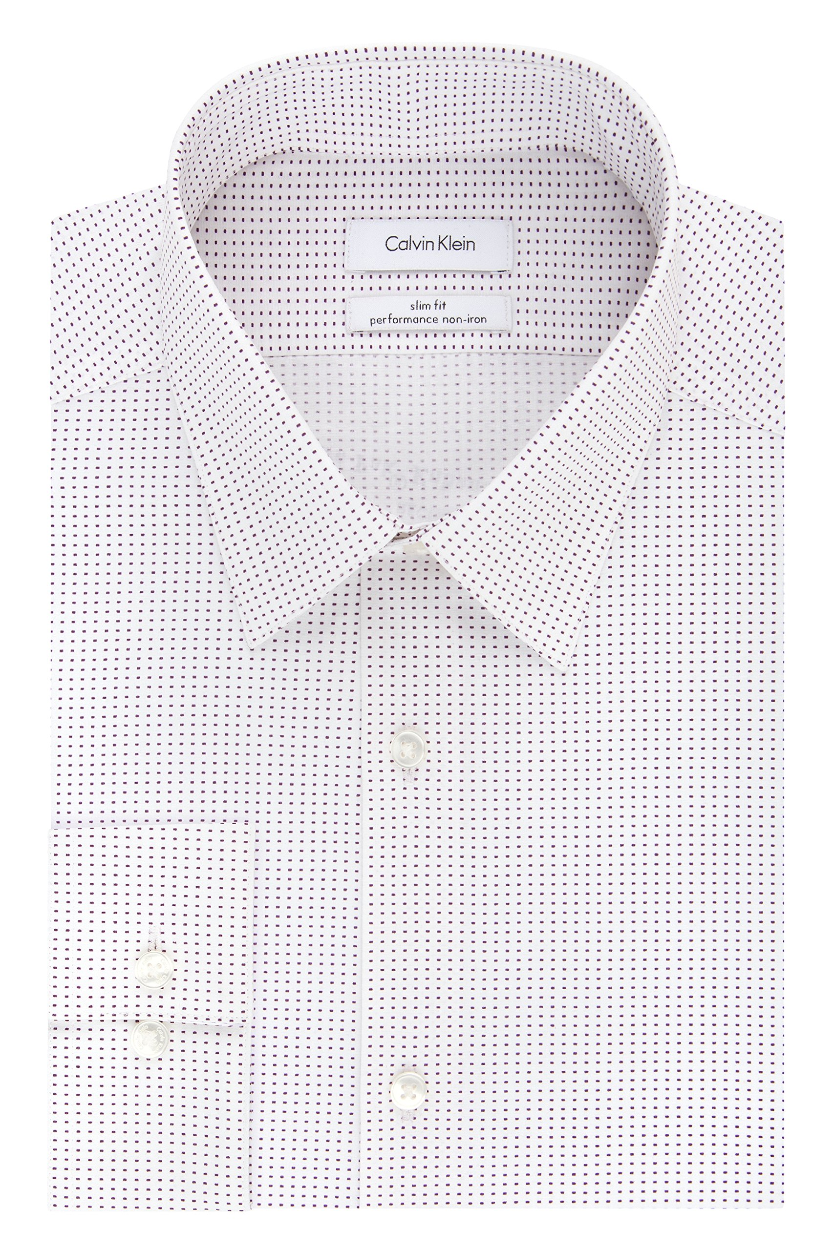 Calvin Klein Men's Non Iron Stretch Slim Fit Dash Print Dress Shirt, Claret, 15.5'' Neck 34''-35'' Sleeve
