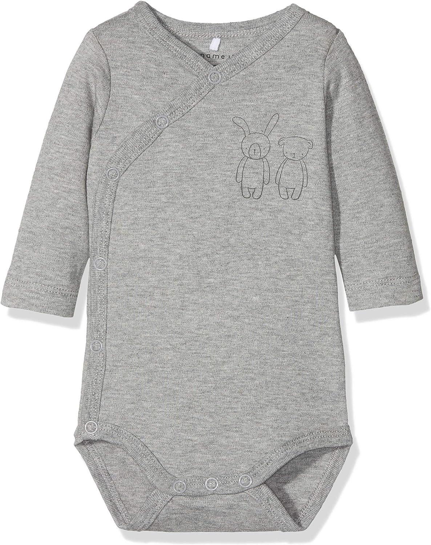 NAME IT Unisex Baby Nbnbody Wrap Ls Grey Mel Noos Strampler