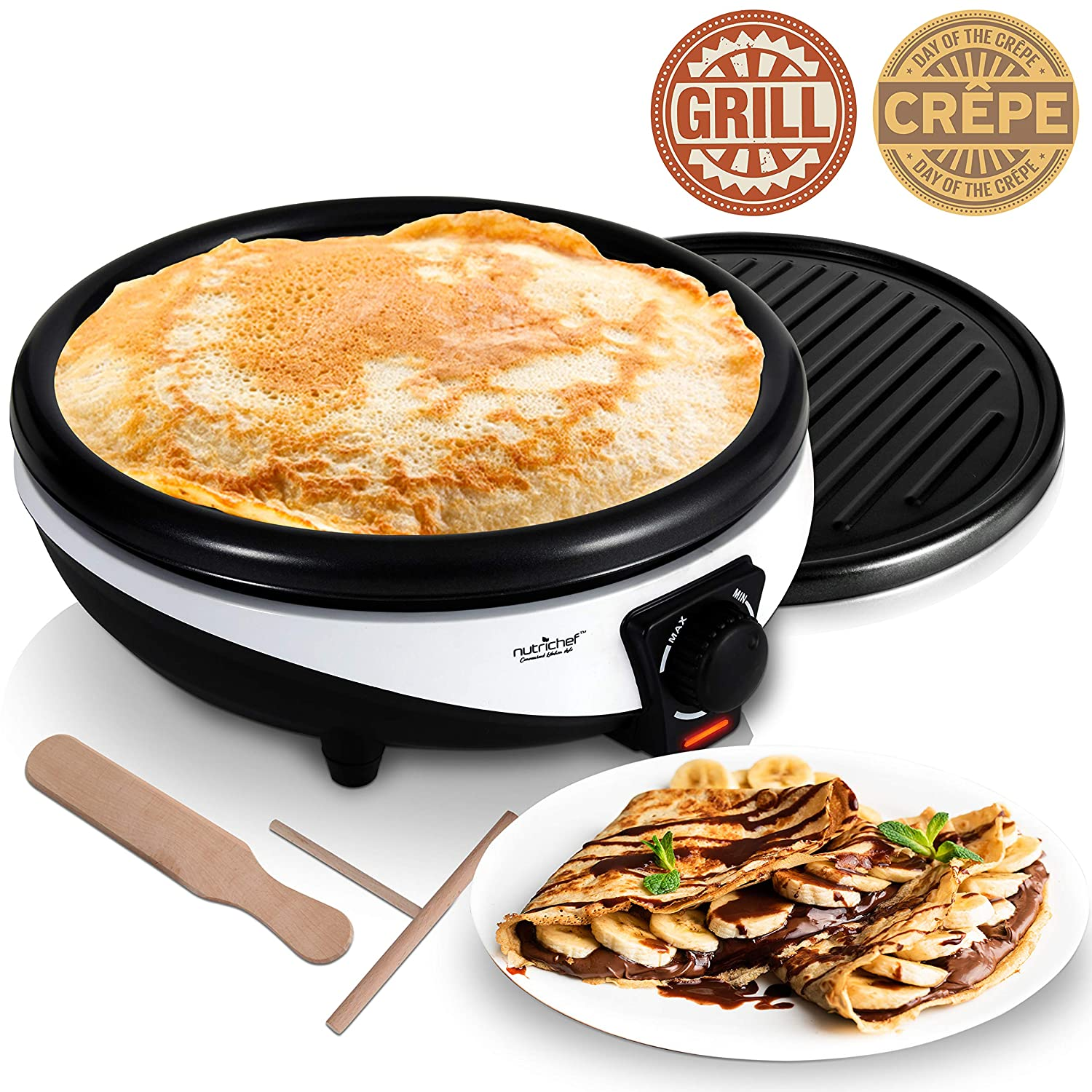 NutriChef Electric Griddle & Crepe Maker - Nonstick 11.8 Inch Hot Plate Cooktop, Adjustable Temperature Control, Batter Spreader & Spatula, Used Also For Pancakes, Blintzes & Eggs PKCYM15