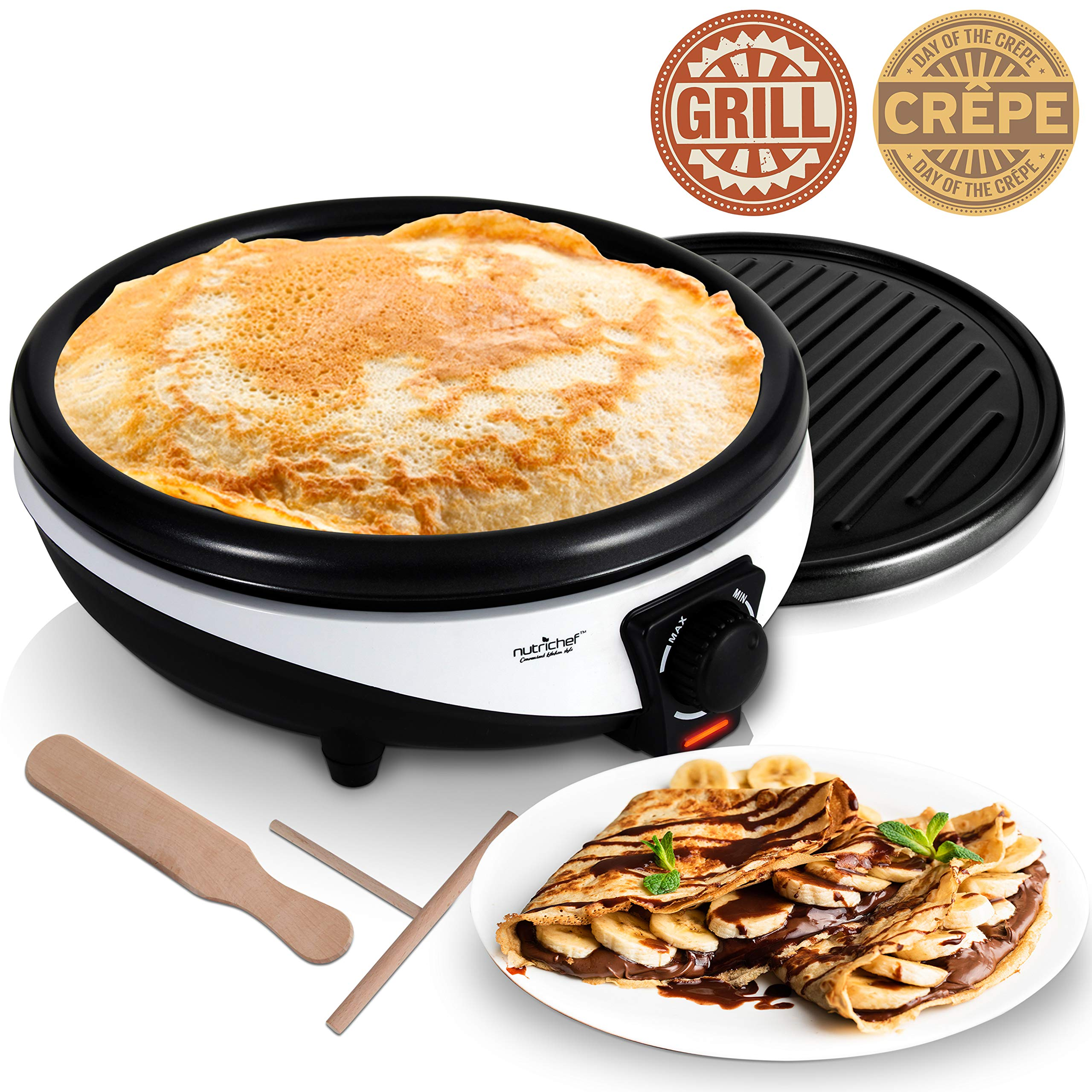 NutriChef Electric Griddle & Crepe Maker - Nonstick 11.8 Inch Hot Plate Cooktop, Adjustable Temperature Control, Batter Spreader & Spatula, Used Also For Pancakes, Blintzes & Eggs PKCYM15 by Nutrichef