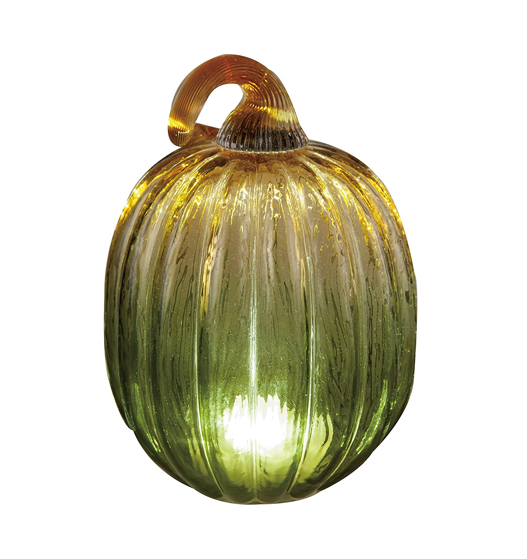 7.25 Inch Lighted Green Blown Glass Pumpkin Figurine with Timer