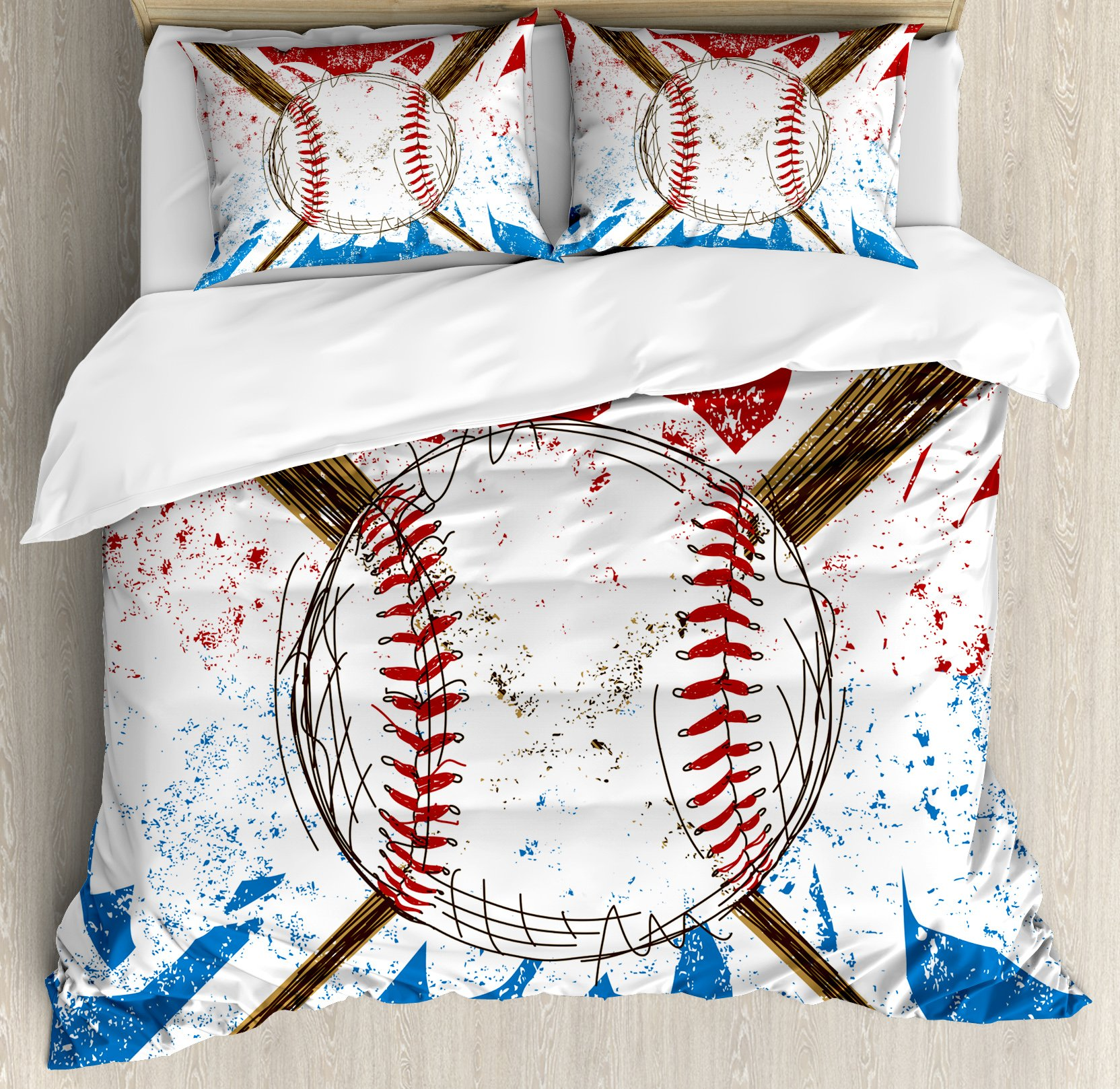Boy's Room Queen Size Duvet Cover Set by Lunarable, Hand Drawn Baseball Bat and Ball on Grunge Colored Artistic Background, Decorative 3 Piece Bedding Set with 2 Pillow Shams, Ruby Blue Brown