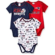 NFL New England Patriots Unisex-Baby 3-Pack Short Sleeve Bodysuits, Blue, 0-3 Months