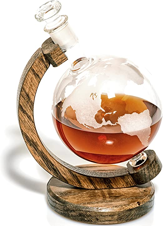 Etched Globe Decanter For Alcohol Bourbon Scotch Whiskey Wine Decanter Wine Gift For Boss Or Anniversary Gifts For Couple Unique Gift For Wine Lovers Wedding Anniversary Gift 1000ml