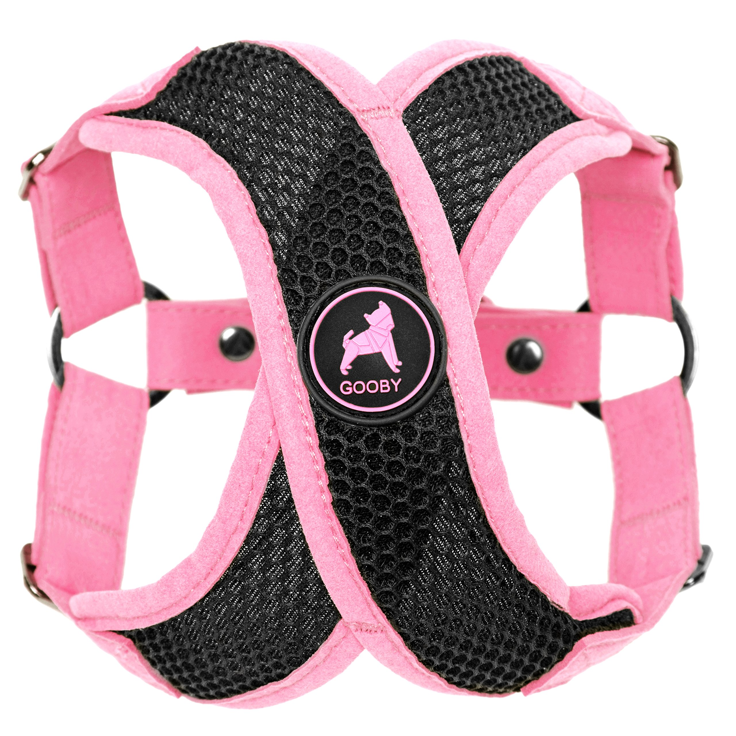 Gooby - Active X Step-in Harness, Choke Free Small Dog Harness with Synthetic Lambskin Soft Strap, Pink, Medium