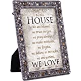 In This House Trust Pray Love Jeweled Pewter Colored 5 x 7 Easel Back Photo Frame