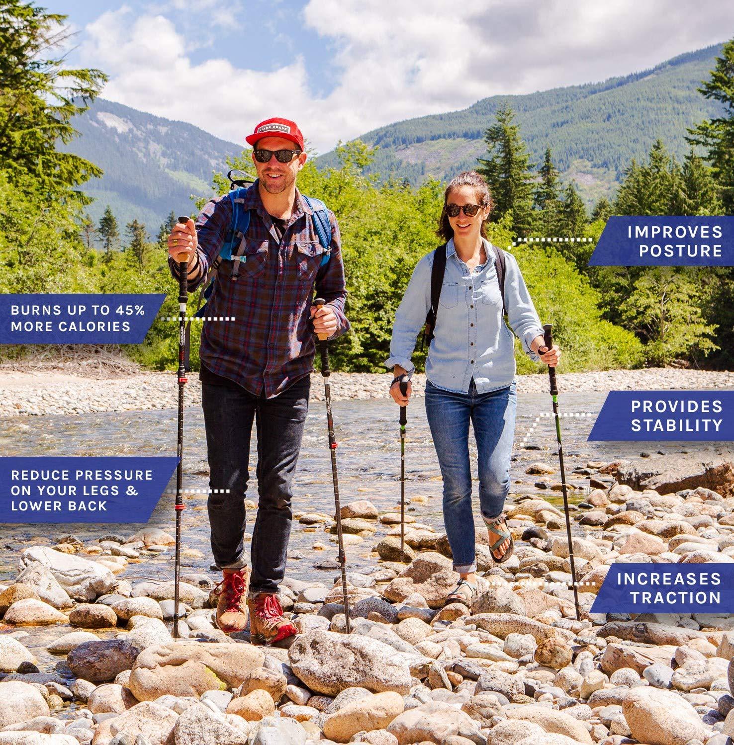 Cascade Mountain Tech Carbon Fiber Adjustable Trekking Poles 2 Pack Lightweight Quick Lock Walking or Hiking Stick 1 Pair
