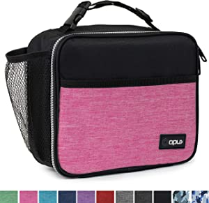 OPUX Premium Insulated Lunch Bag for Adults Women | Soft Leakproof Lunch Box for Kids, Girls| Reusable Durable Thermal Lunch Pail for School Work Office | Fit 6 Cans (Pink)