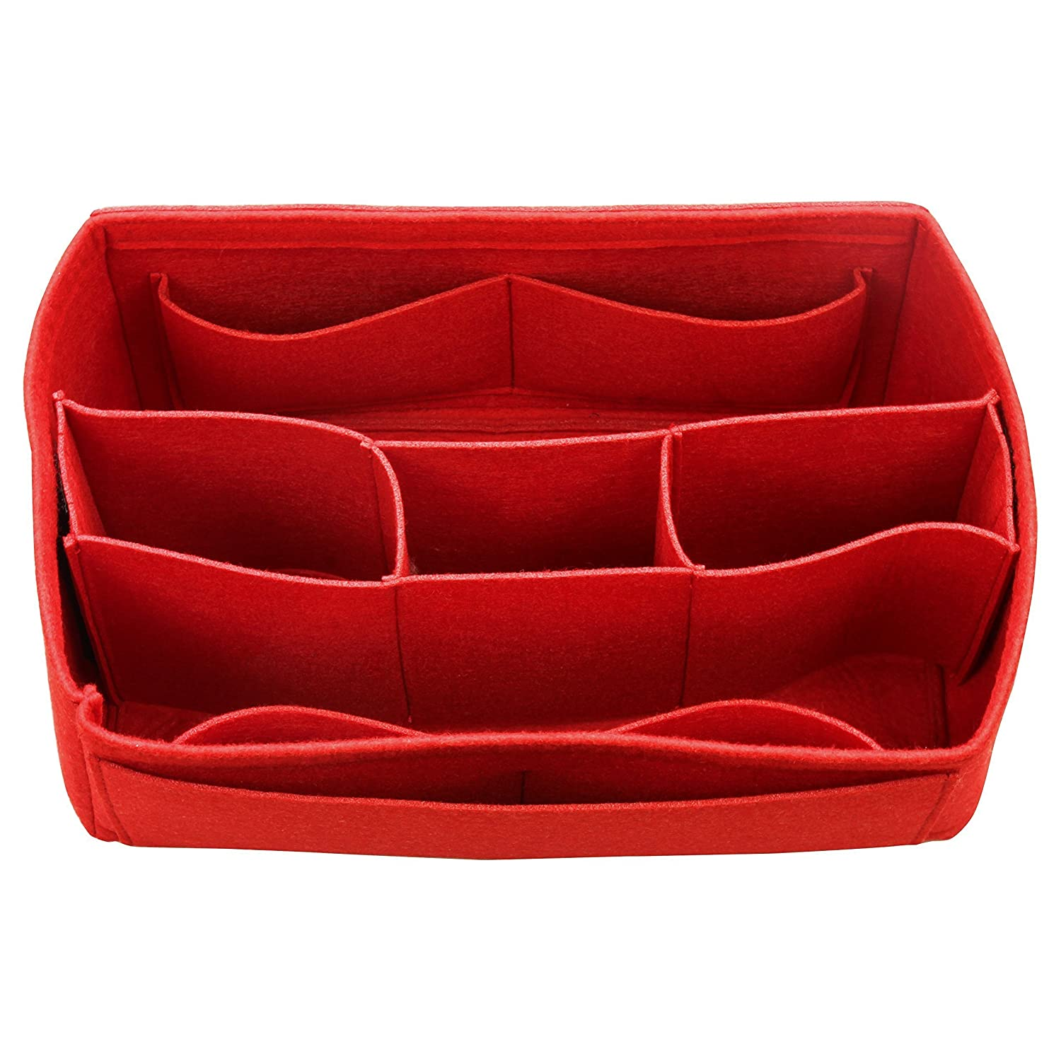 [Fits Graceful MM, Red] Felt Organizer (with Detachable Middle Compartments), Bag in Bag, Wool Purse Insert, Customized Tote Organize, Cosmetic Makeup Diaper Handbag