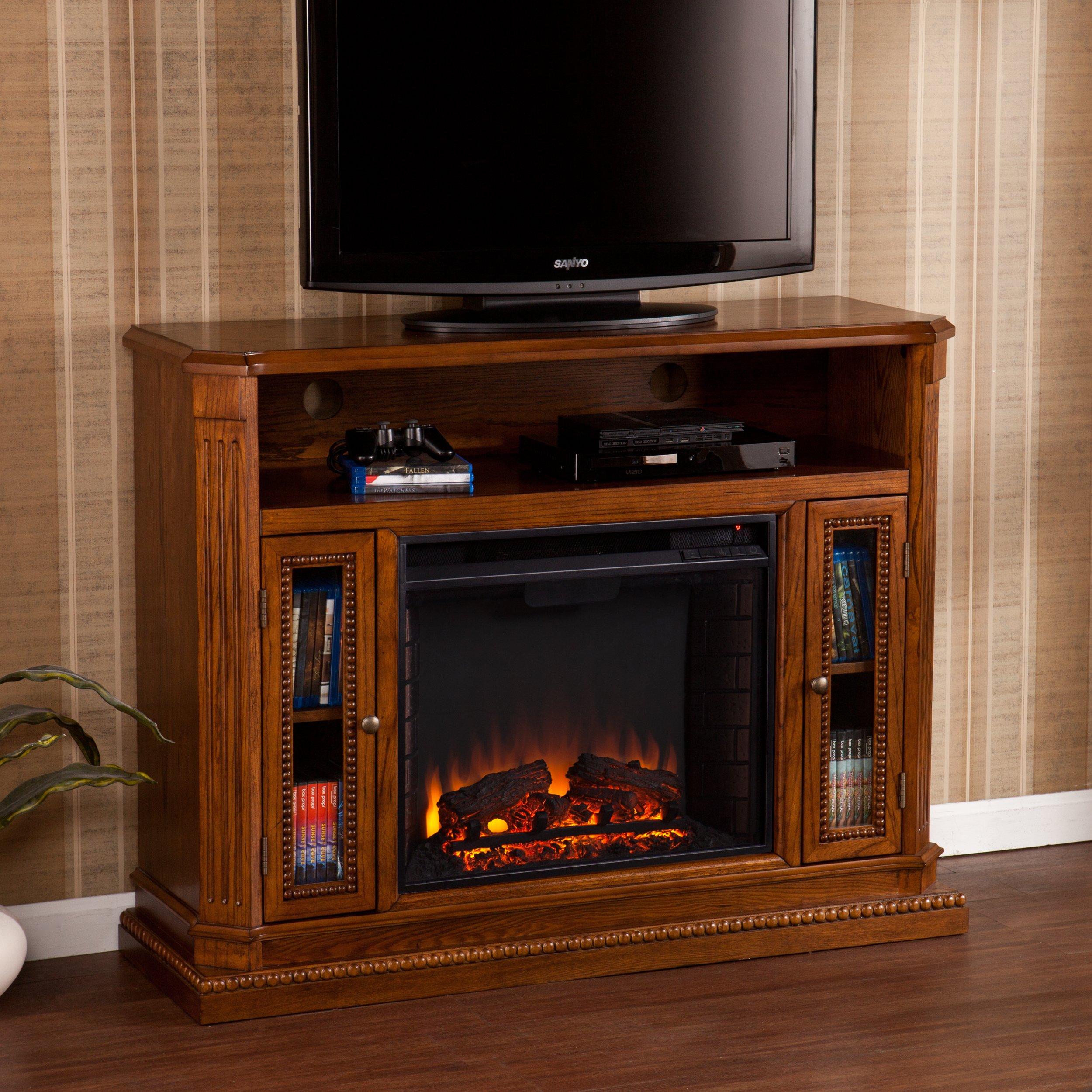 Southern Enterprises Atkinson Media Fireplace 47'' Wide, Rich Brown Oak Finish
