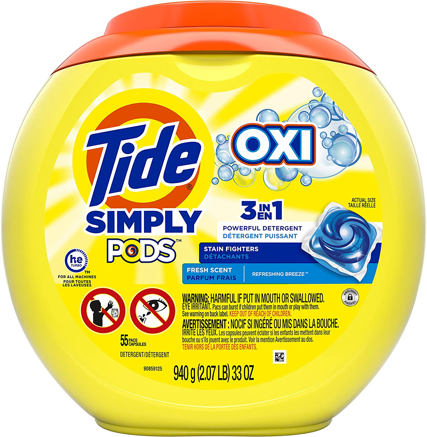Tide Simply Pods +oxi Liquid Laundry Detergent Pacs Capsules, Refreshing Breeze, 55 Count