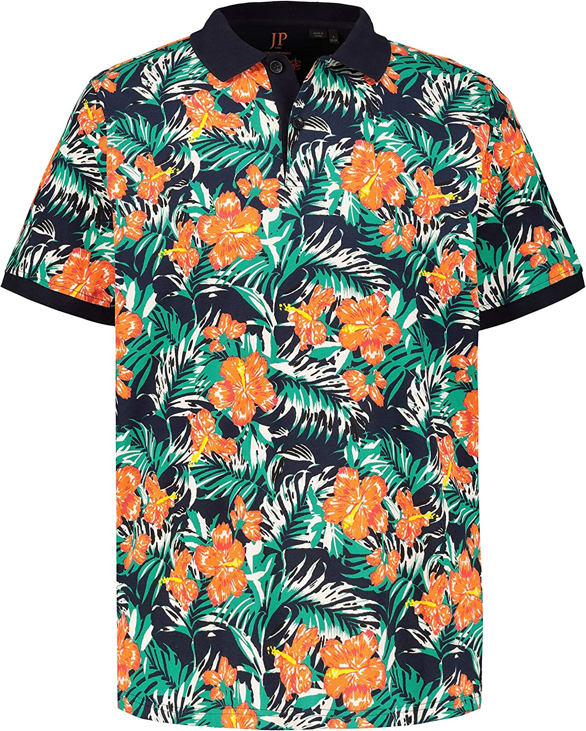 JP 1880 Mens Big /& Tall Tropical Print Pique Polo Shirt 720054