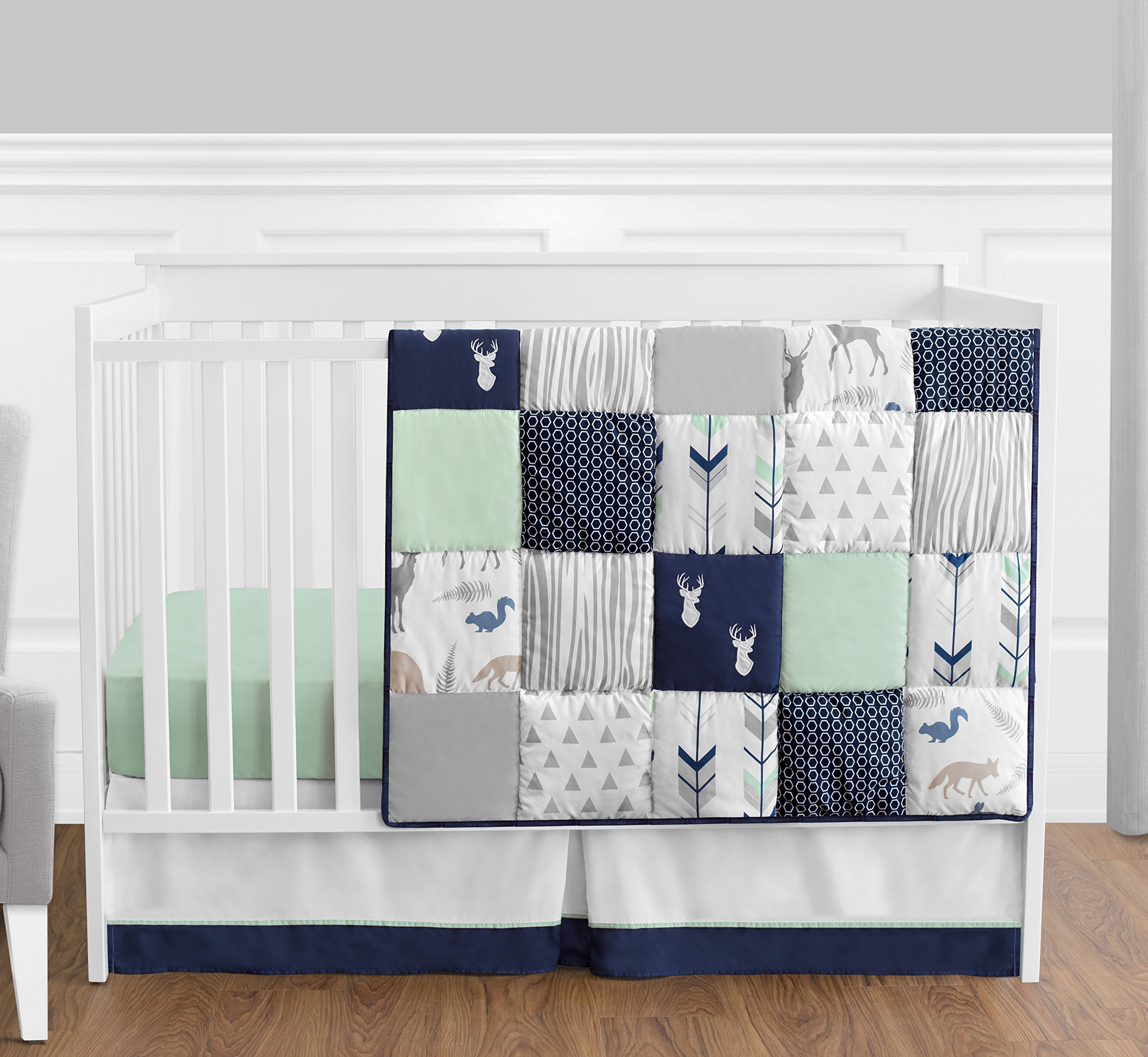 Navy Blue, Mint and Grey Woodsy Deer Boys Baby Bedding 4 Piece Crib Set Without Bumper by Sweet Jojo Designs