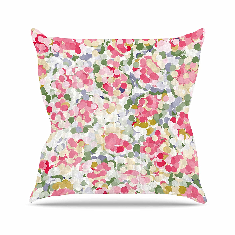 Kess InHouse Matthias Hennig Soft Dots Pink Floral Throw Pillow 26 by 26