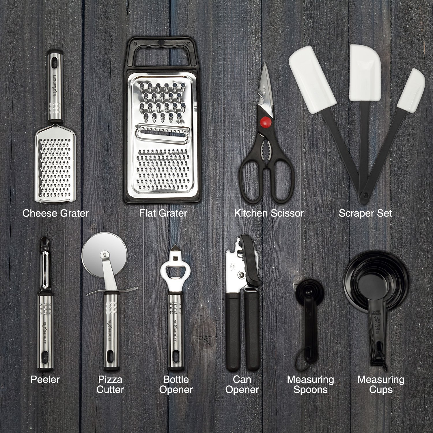 NexGadget Premium Kitchen Utensils 38 Pieces Kitchen Utensils Sets Stainless Steel And Nylon Cooking Tools Spoons, Turners, Tongs, Spatulas, Pizza Cutter, Whisk And More by NEXGADGET (Image #3)