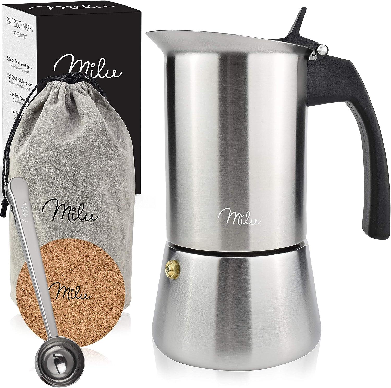 Milu Cafetera Italiana (2 Tazas sin inducción) | 2, 4, 6 Tazas | Cafetera Moka de Acero Inox, Expresso Maker - Set comprensivo di sottobicchiere, ...