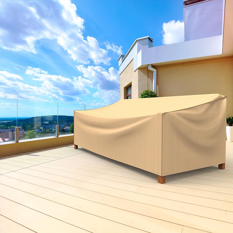 Large Budge P3W04TNNW1 Sedona Patio Sofa Cover Waterproof Durable Tan