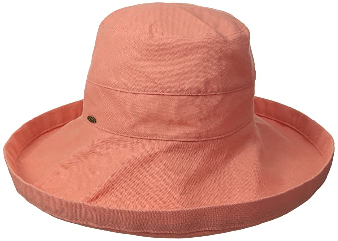 03a20a5f Scala Women's Cotton Big Brim Hat with Inner Drawstring, Grapefruit, One  Size