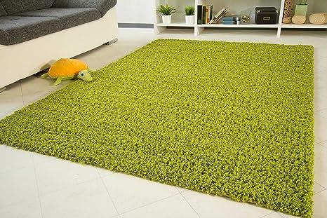 Shaggy Hochflor Teppich Funny Langflor Teppich In Grün Mit öko Tex Siegel Größe 65x130 Cm