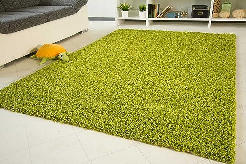 Amazon.de: Shaggy Hochflor Teppich Funny Langflor Teppich in grün ...