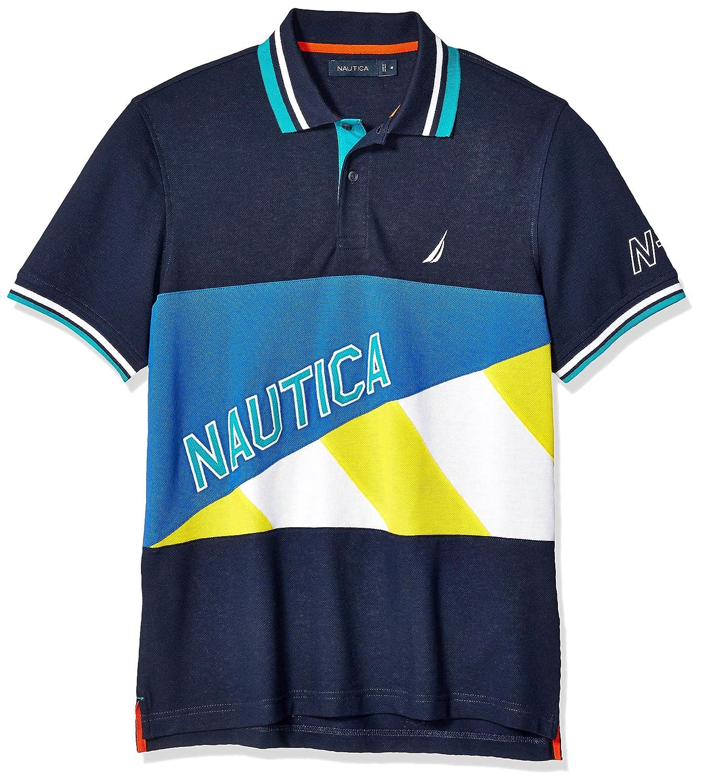 Nautica Mens Short Sleeve Classic Fit Pieced Fashion Logo Polo Shirt Polo Shirt