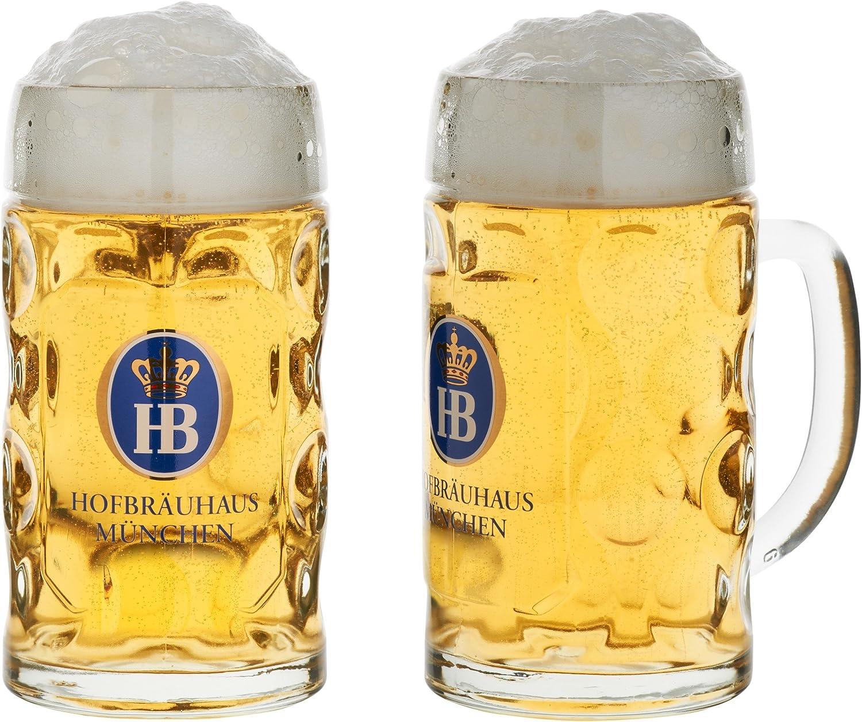 Jarra de cerveza de cristal con logotipo original de Hofbräuhaus München