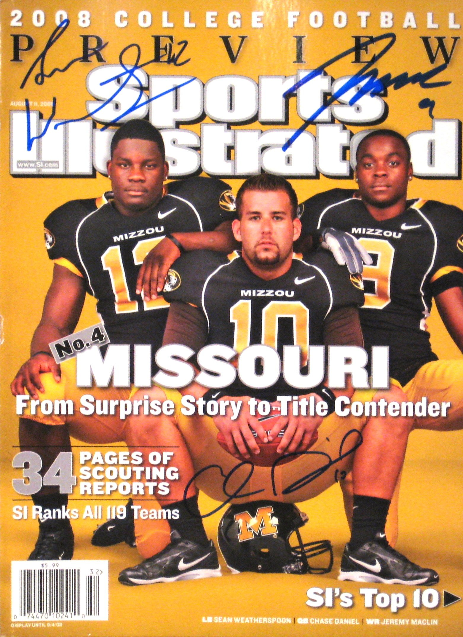 MISSOURI TIGERS Chase Daniel, Sean Weatherspoon & Jeremy Maclin autographed Sports Illustrated magazine 8/11/08