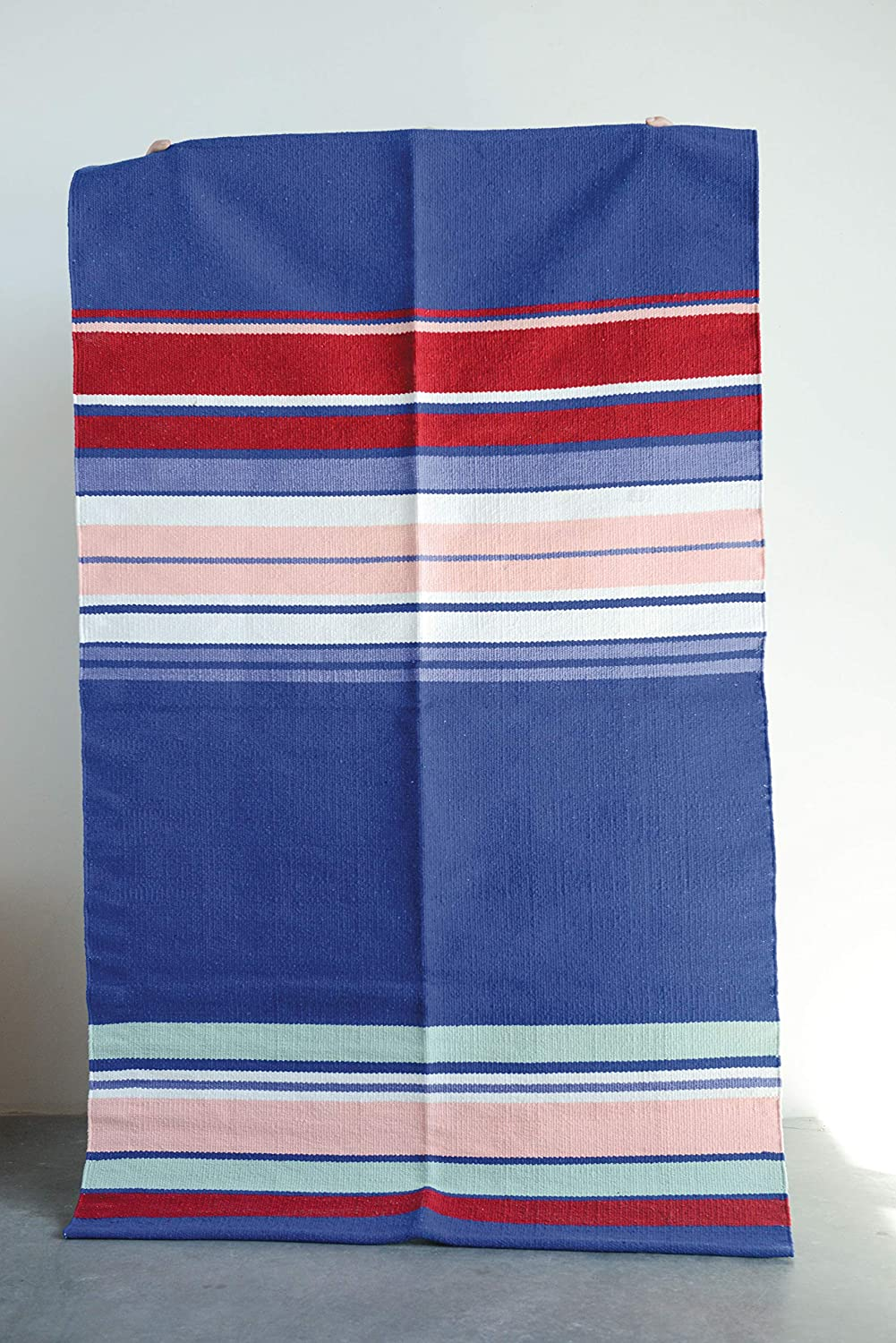 Pink Green /& White Stripes Throw, Creative Co-op 36 x 60 Blue Rug with Red