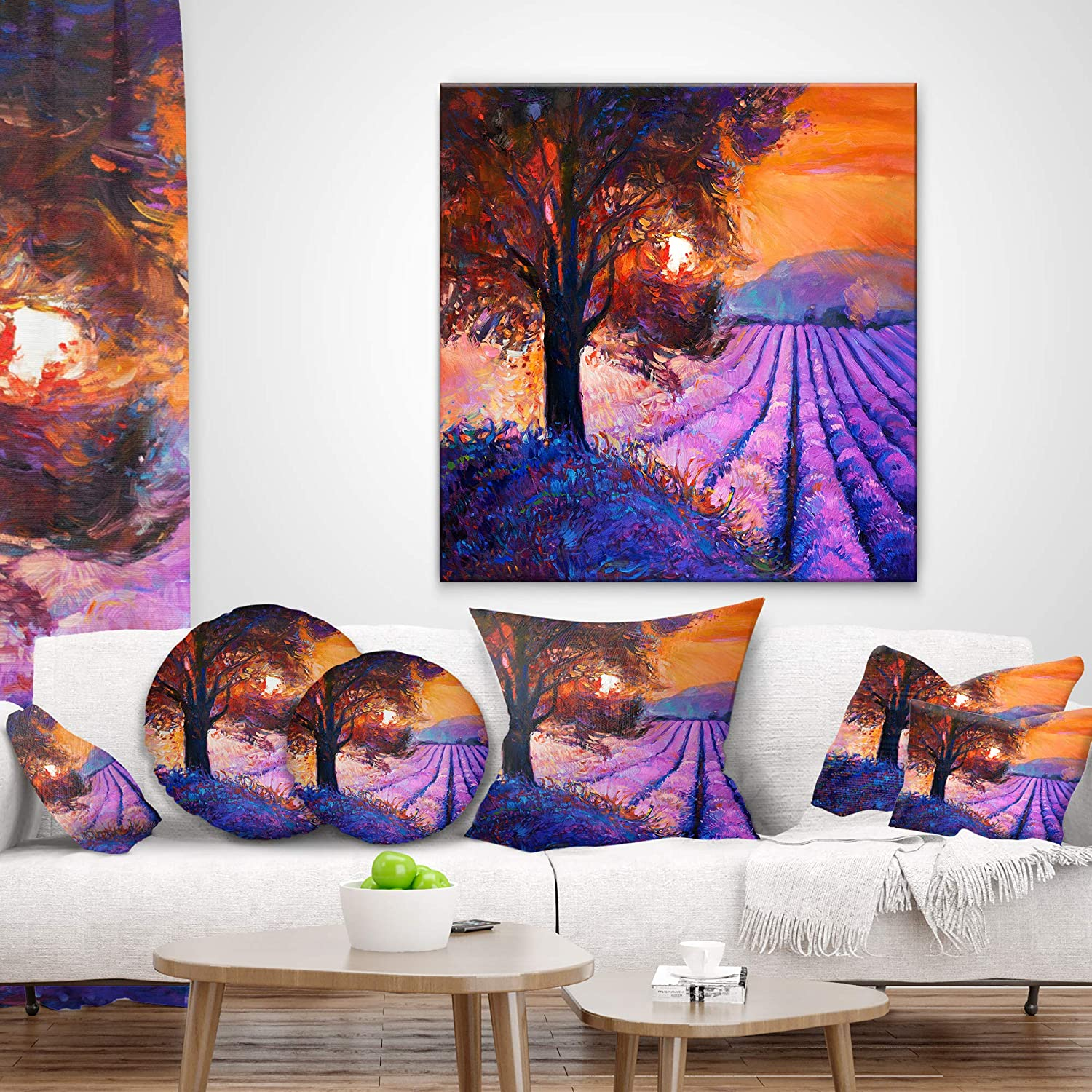 Designart CU12399-12-20 Majestic Lavender Field and Tree Floral Lumbar Cushion Cover for Living Room in 12 in x 20 in Sofa Throw Pillow