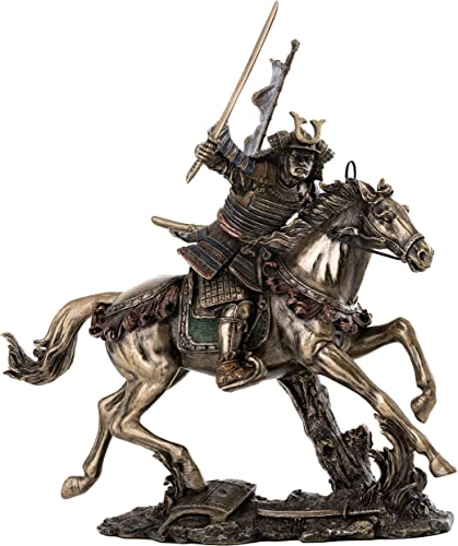 Top Collection Samurai Riding Horse with Sword in Hand Statue – Japanese Warrior in Combat Sculpture in Premium Cold Cast Bronze – 8-Inch Collectible Figurine