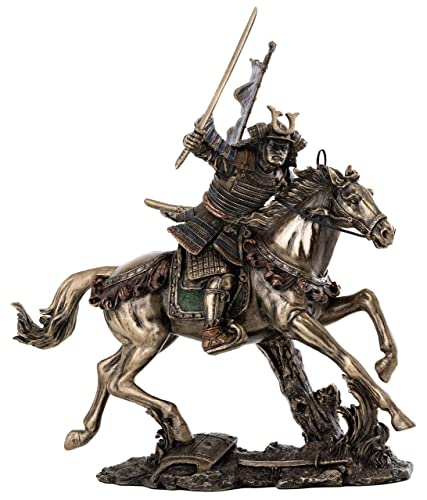Top Collection Samurai Riding Horse with Sword in Hand Statue – Japanese Warrior in Combat Sculpture in Premium Cold Cast Bronze – 8-Inch Collectib