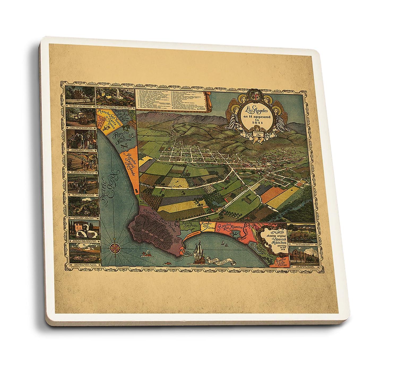 ロサンゼルス パノラマ地図 #1 4 Coaster Set LANT-7427-CT 4 Coaster Set  B07DD3LW74