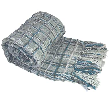 BOON Multi-Color Chenille Couch Throw Blanket, 50  x 60 , Grey/Blue