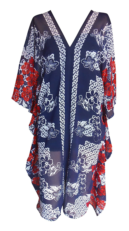 ab33b472dc SUNROSE Navy Blue Sheer Chiffon Plus Size Beach Cover Up Caftan Kaftan at  Amazon Women's Clothing store: