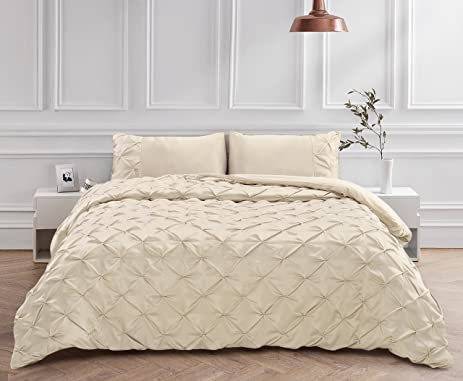 3 Piece Luxury Pinch Pleat Pintuck Duvet Cover Set, Solid Pattern King Size  Champagne Coverlet