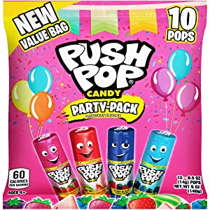 Push Pop Individually Wrapped Lollipop Variety Party Pack - 10 Count Lollipop Suckers in Assorted Flavors - Fun Candy for Parties and Celebrations