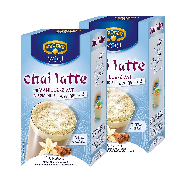 Krüger Chai Latte Classic India menos dulce, vainilla-canela, té de la leche de bebida y templado, 2 Pack, 2 x 10 monodosis bolsa: Amazon.es: Alimentación y ...