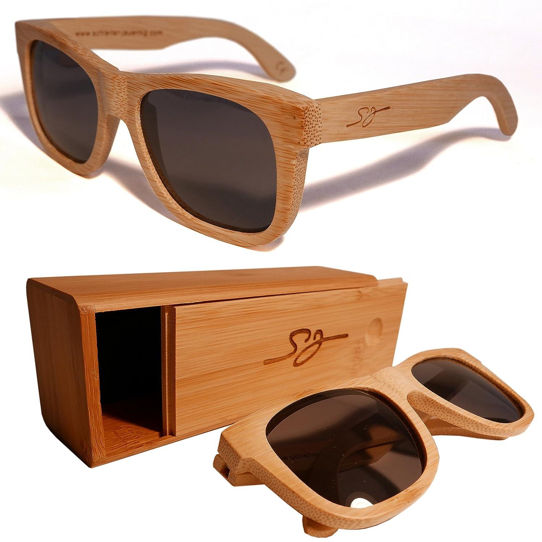 S&J Hochwertige Holz Sonnenbrille und Brillenetui aus Bambusholz (Bambusoideae) 100% Echtholz Handgefertigt - Mit UV Schutz CE Kennzeichnung Polarisiert - Inkl. Hartschalen Holzcase zur Aufbewahrung