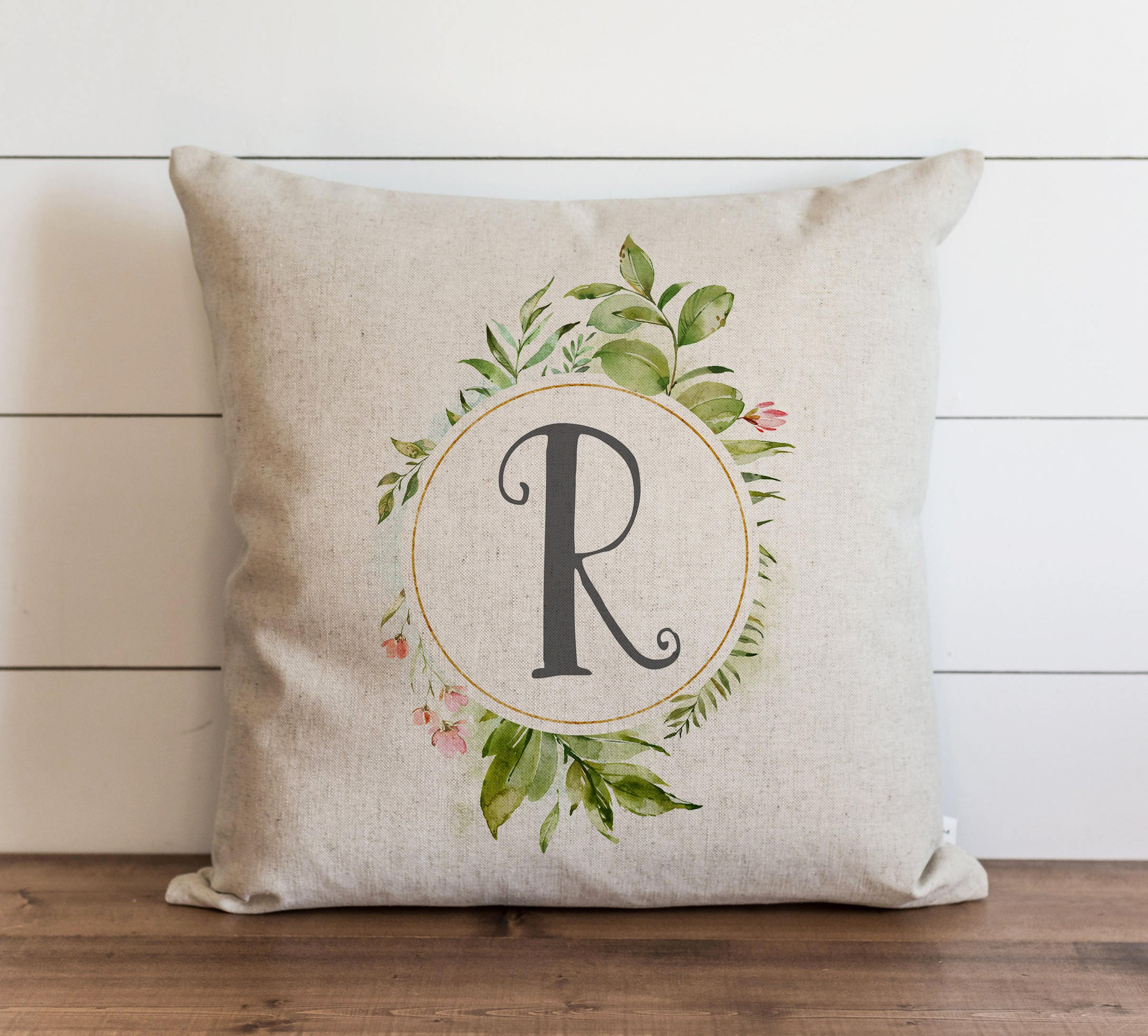TINA-R Floral Monogram 18x18 Inch Pillow Cover Everyday Throw Pillow Gift Accent Pillow Cushion Cover