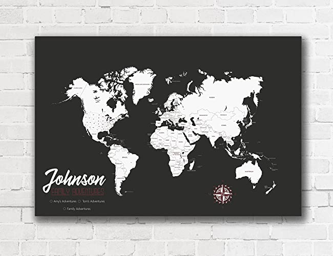 Amazon personalized world map push pin map on canvas world personalized world map push pin map on canvas world travel map housewarming gift by artist amber gumiabroncs Images