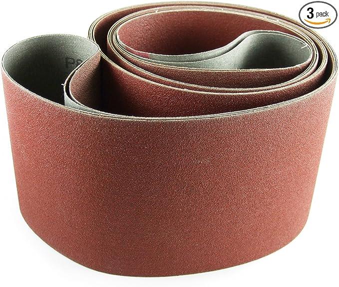 132 Length Brown 1 Width 50 Grit Coarse Grade Cloth Backing VSM 15565 Abrasive Belt Aluminum Oxide Pack of 10