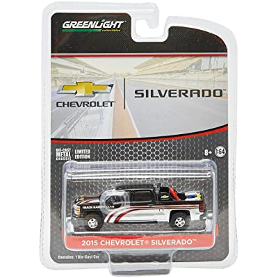 Greenlight 1:64 2015 Chevy Silverado in Black with Safety Equipment in Truck Bed (29896) Die-Cast Vehicle: Toys & Games