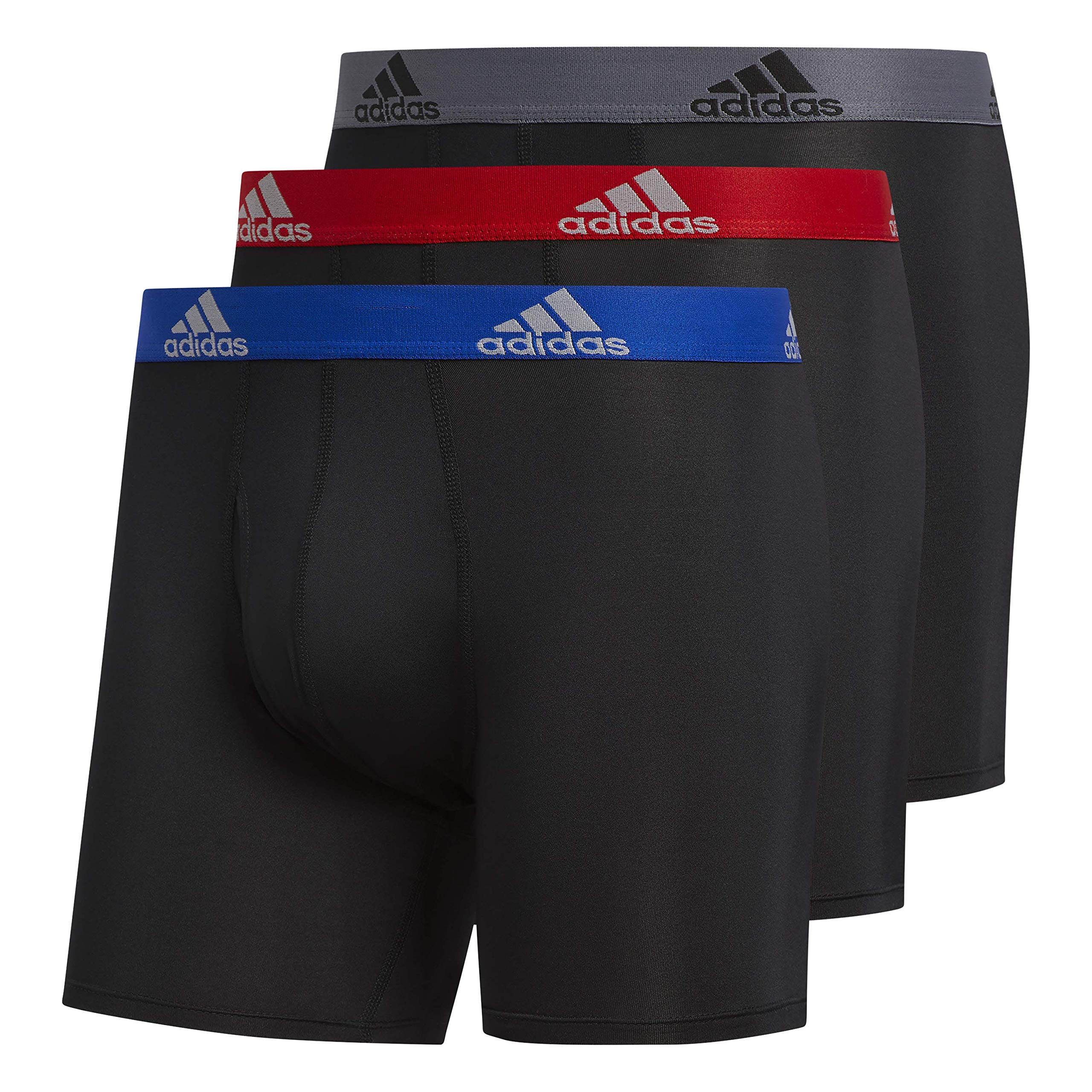 adidas Climalite Boxer Briefs Underwear (3-pack), Black/Collegiate Royal | Black/Scarlet | Black/Onix, 4X-Large by adidas