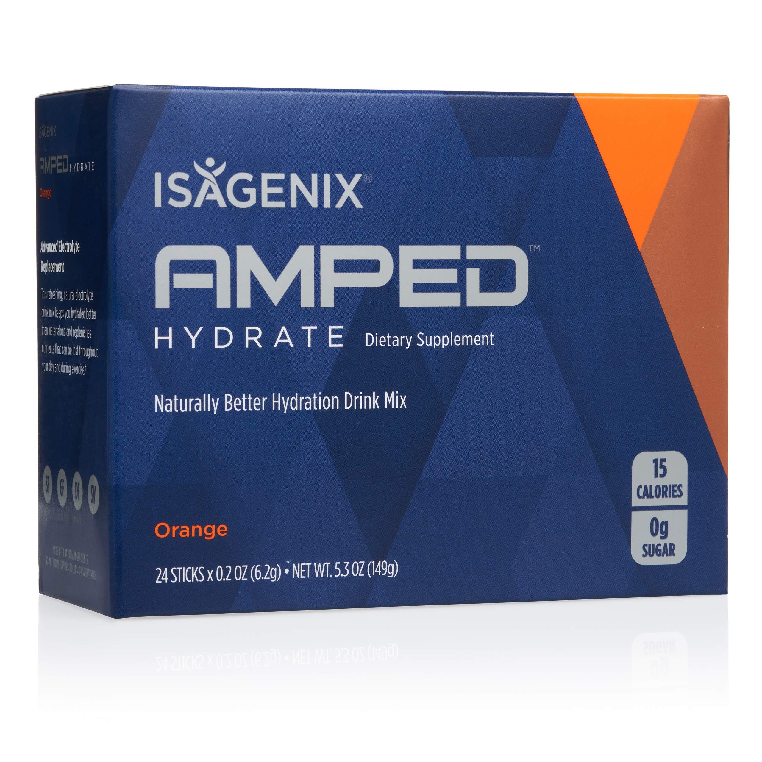 Isagenix Amped Hydrate Sticks, 24 Packets of Drink Mix (Orange)