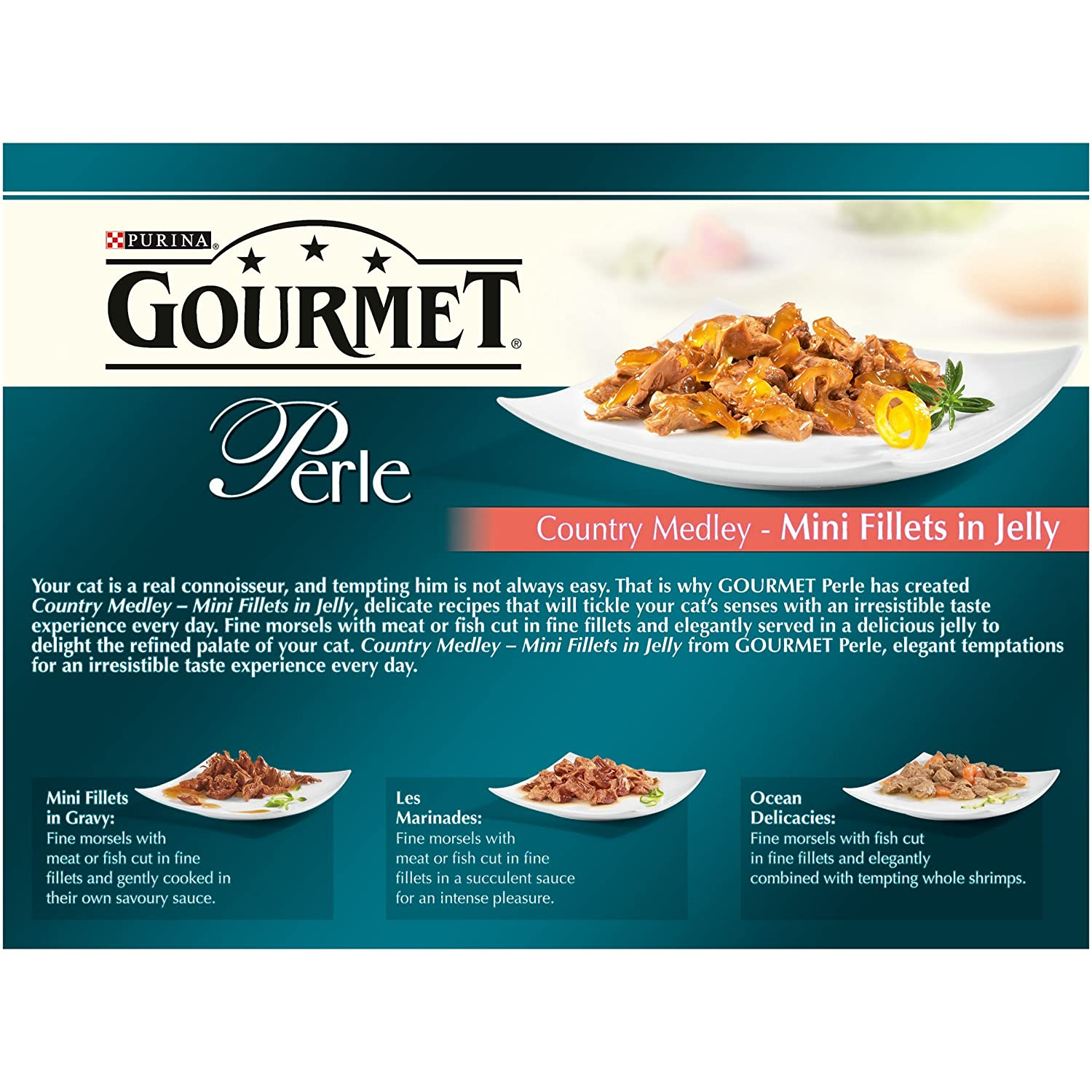 Purina gourmet perle wet cat food country medley mini fillets in purina gourmet perle wet cat food country medley mini fillets in jelly 12 x 85g pack of 4 amazon pet supplies forumfinder Choice Image