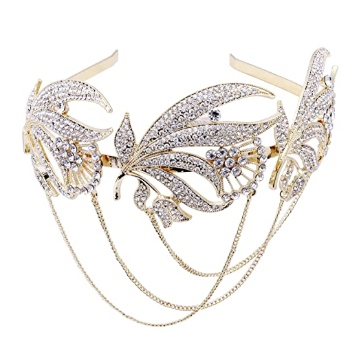 1920s Flapper Headbands The Great Gatsby Inspired Bridal Art Deco Hair Comb Clear Austrian Crystal Gold $18.99 AT vintagedancer.com