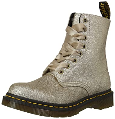 Dr. Martens Women s 1460 Pascal Glitter Fashion Boot Pale Gold 3 Medium UK  (5 79d2bfe95f49