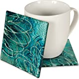 Angelstar 19117 Sapphire Floral Coaster, 4-Inch, Set of 4