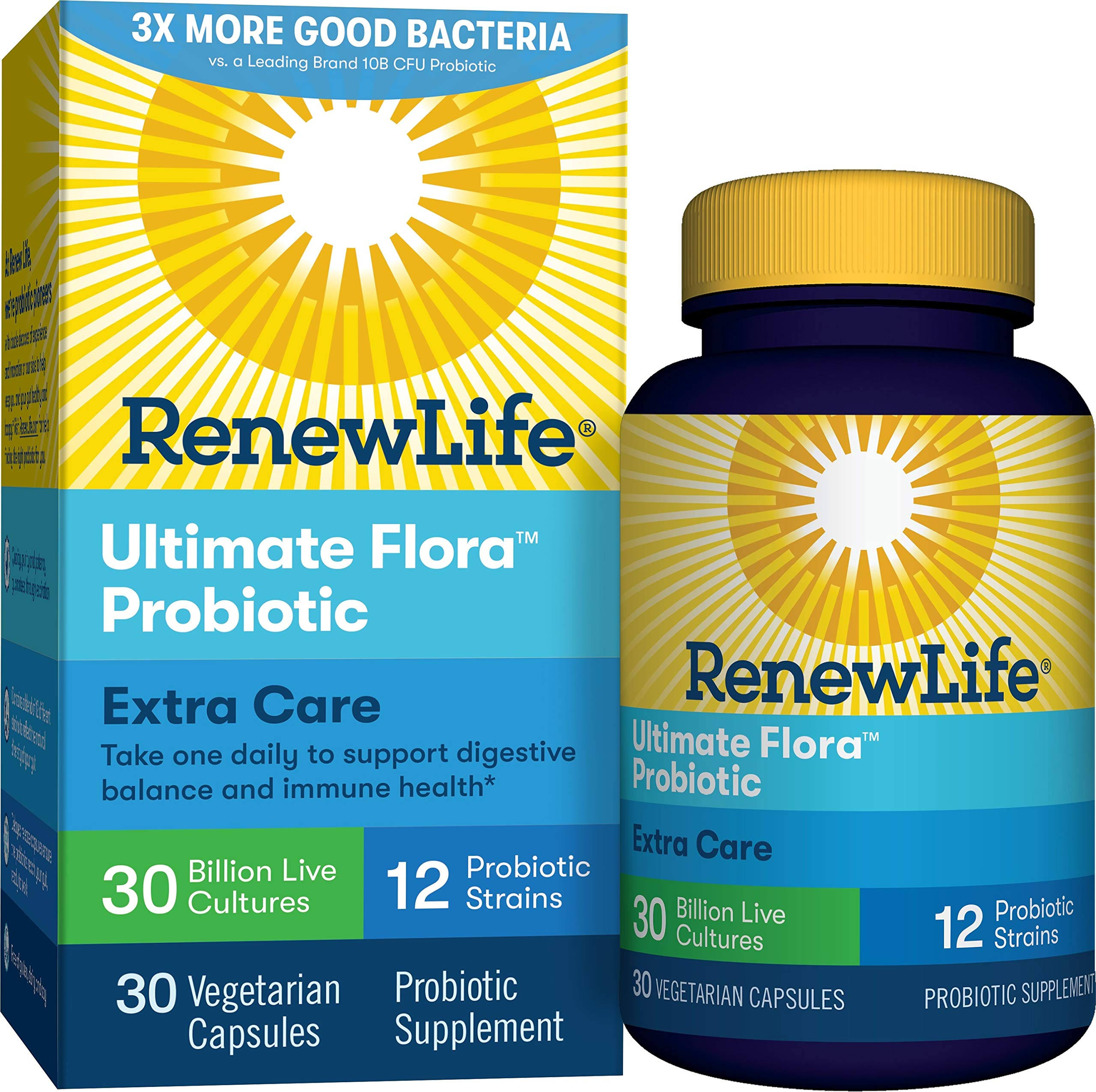 Renew Life Adult Probiotic - Ultimate Flora  Extra Care Probiotic Supplement - Gluten, Dairy & Soy Free - 30 Billion CFU - 30 Vegetarian Capsules (Packaging May Vary) by Renew Life