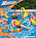 Banzai Splash Battle Islands ( Includes Two Inflatable Air Islands 2 Batons - Swimming Pool Game Spring Summer Water Float Boat Bump Splash Backyard Fun Play Toy)